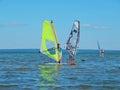Windsurfing on Plescheevo lake near the town of Pereslavl-Zalessky in Russia. Royalty Free Stock Photo