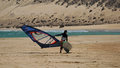 Windsurfing on Risco del Paso beach, Fuerteventura, Canary islands Royalty Free Stock Photo