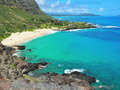 Windward oahu rugged coastline on the eastern of the hawaiian island of lies a and foreboding volcanic shore where the waves Stock Photography