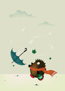 Windy day cute little hedgehog girl try to catch her umbrella vector illustration vertical Stock Photography