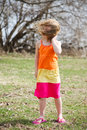 Windy little girl on a very day Stock Photography