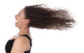 Windy: profile of laughing woman with blowing hair in wind isolated on white background