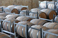 Wine aging in barrels new oak placing rows Royalty Free Stock Photos