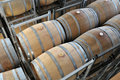 Wine aging in barrels new oak placing rows Stock Image