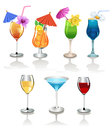Wine and alcoholic cocktails vector set of drinks on a white background Stock Photography