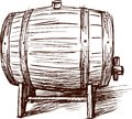 Wine barrel vector image of a sketch of an old cask Stock Photos