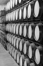 Wine barrels in an aging cellar process at spanish black and white vertical Stock Photos