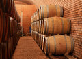 Wine barrels in cellar an image from a winery Royalty Free Stock Images