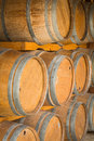 Wine barrels close up wooden in warehouse Royalty Free Stock Image