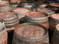 Wine barrels multiple used in a variety of sizes Stock Photo