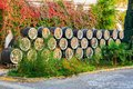 Wine barrels in open air Royalty Free Stock Photo