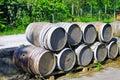 Wine barrels stacked. Italy Royalty Free Stock Photo