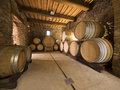 Wine barrels stacked in the old cellar of an italian winery Royalty Free Stock Photo
