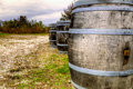 Wine barrels at a vineyard in central kentucky Stock Image
