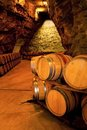 Wine barrels in a winery, France Royalty Free Stock Photography