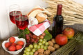 Wine and basket Royalty Free Stock Photo
