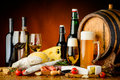 Wine, beer and food Royalty Free Stock Photo