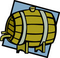 Wine or beer wooden barrel keg  illustration Stock Photography
