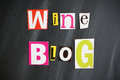 Wine blog letters on chalkboard Stock Photo