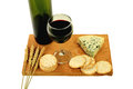 Wine, Blue cheese and water crackers. Royalty Free Stock Photo