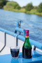 Wine on the boat little bottle and glass Royalty Free Stock Image