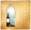 Wine bottle in arc window Royalty Free Stock Photography