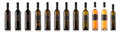 Wine bottle collection isolated on white Royalty Free Stock Photo