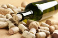 Wine bottle and corks Royalty Free Stock Image