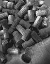 Wine bottle corks a collection of from bottles Stock Photos