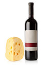 Wine bottle and dutch cheese Royalty Free Stock Images