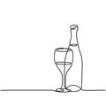 Wine bottle and glass contour. Royalty Free Stock Photo