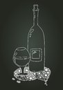 Wine bottle and glass with doodle chalk sketch the circular pattern Royalty Free Stock Photo