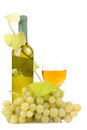 Wine bottle with glass and green grapes Stock Images