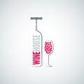 Wine bottle glass menu background Royalty Free Stock Photo