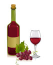 Wine bottle and glass vector illustration Stock Images