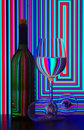Wine bottle and glasses Royalty Free Stock Photo
