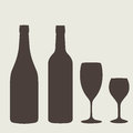 Wine bottle sign set. Bottle icon. Royalty Free Stock Photo
