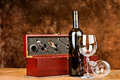 Wine bottle and two wine glasses Stock Photography