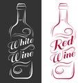 Wine bottle. white wine, red wine.