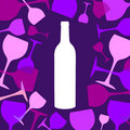 Wine bottle and wineglasses background Stock Photos