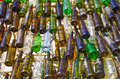 Wine bottles close up of colorful but dirty empty Royalty Free Stock Image