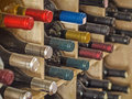 Wine bottles colorful in rack Stock Photos