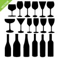 Wine bottles and glass silhouette vector Royalty Free Stock Photo