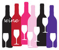 Wine bottles and glasses design simple graphic of in many colors vector available Stock Photo