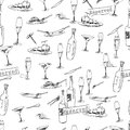 Wine bottles pattern and food black and white seamless hand drawn illustration and vector Royalty Free Stock Photo