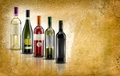 Wine bottles selection of of doc on parchment background Stock Images