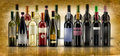 Wine bottles selection of of doc on parchment background Stock Photo