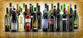 Wine bottles selection of of doc on parchment background Royalty Free Stock Images