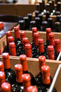 Wine Bottles in a shop Royalty Free Stock Photography