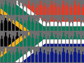 Wine bottles and South African flag Royalty Free Stock Image